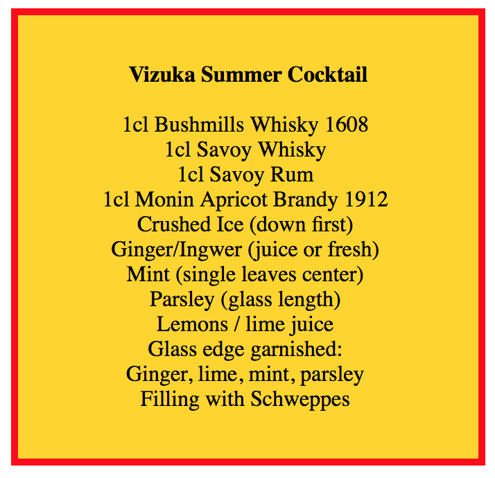 Vizuka Summer Cocktail Zutaten